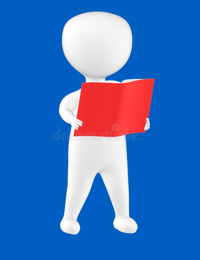 3d charakter, mężczyzna czyta książkę ilustracji