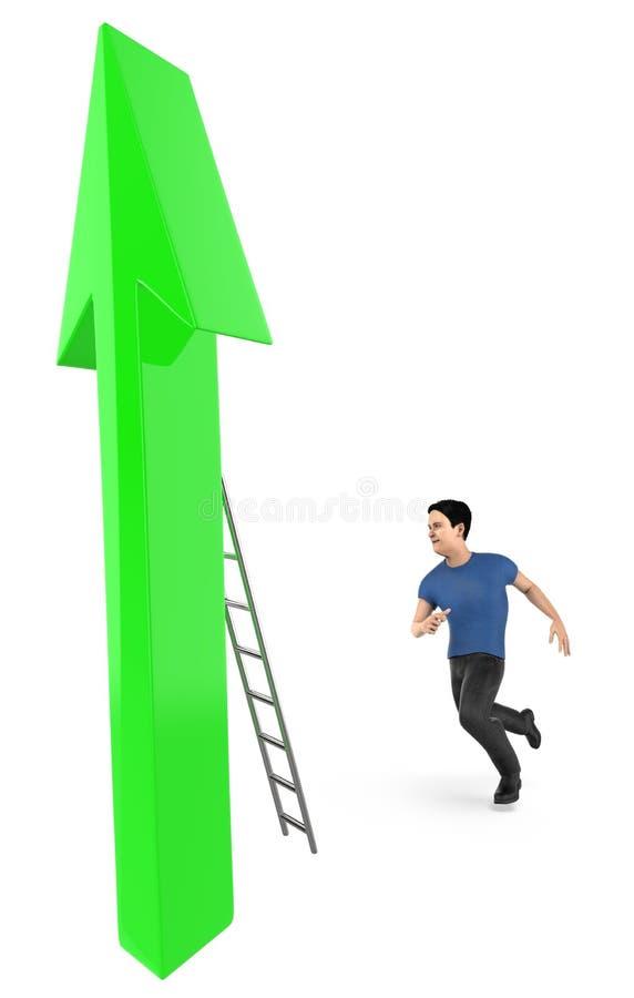 3d charakter, mężczyzna iść wspinać się up strzała używać drabinę ilustracji