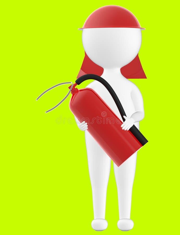 3d charakter, mężczyzna jest ubranym zbawczą nakrętkę i trzyma pożarniczego gasidło ilustracji