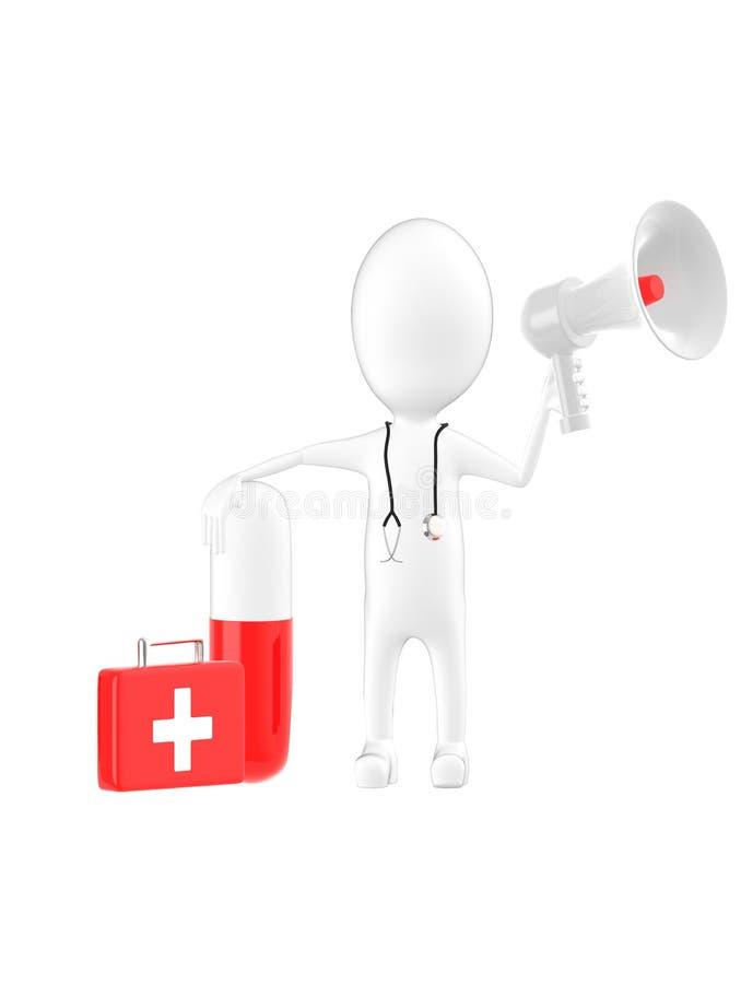 3d charakter, mężczyzna lekarka, medyczny lekarz praktykujący trzyma megafon, kapsuły, pierwszej pomocy pudełko ilustracja wektor