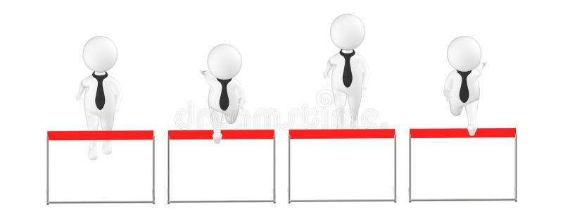 3d charakter, mężczyzna, ludzie skakał, skaczący przez przeszkodę ilustracja wektor