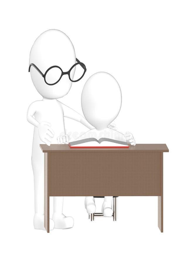 3d charakter, mężczyzna nauczyciel i uczeń, ilustracji