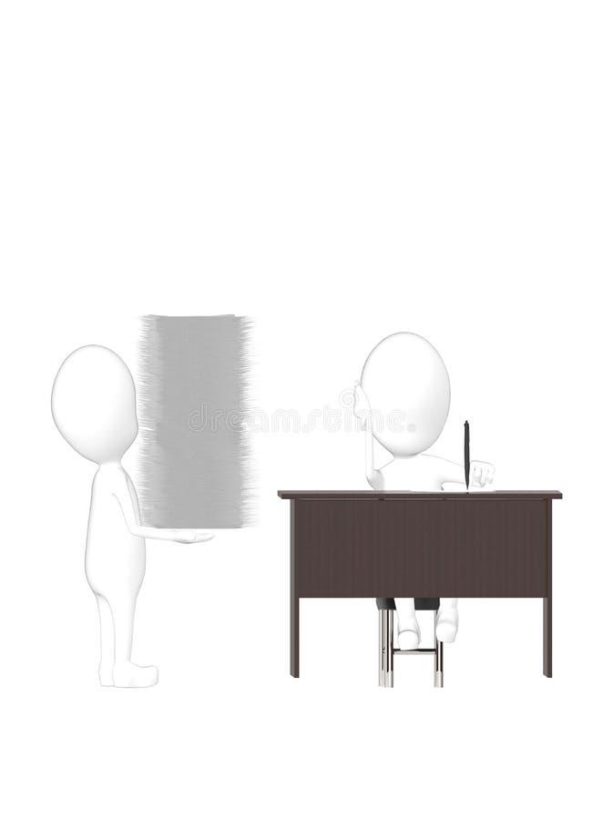 3d charakter, mężczyzna niesie stertę kartoteki charakter na biurowym biurku ilustracja wektor