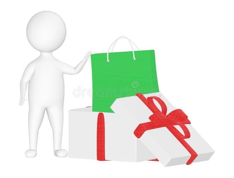 3d charakter, mężczyzna prezenta pudełko i torba na zakupy, ilustracja wektor