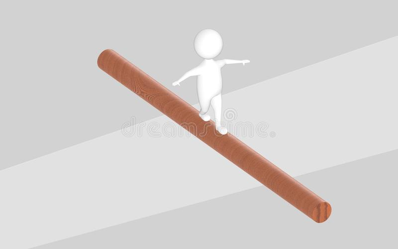 3d charakter, mężczyzna równoważenie chodzi na drewnianej beli krzyżuje a ilustracja wektor