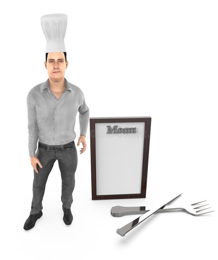 3d charakter, mężczyzna szef kuchni, menu, rozwidlenie łyżka i nóż, ilustracji