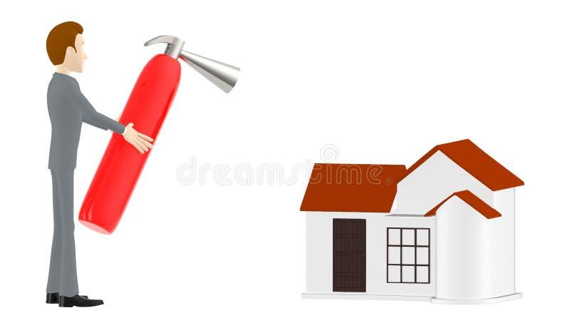 3d charakter, mężczyzna trzyma pożarniczego gasidło w kierunku domu ilustracja wektor
