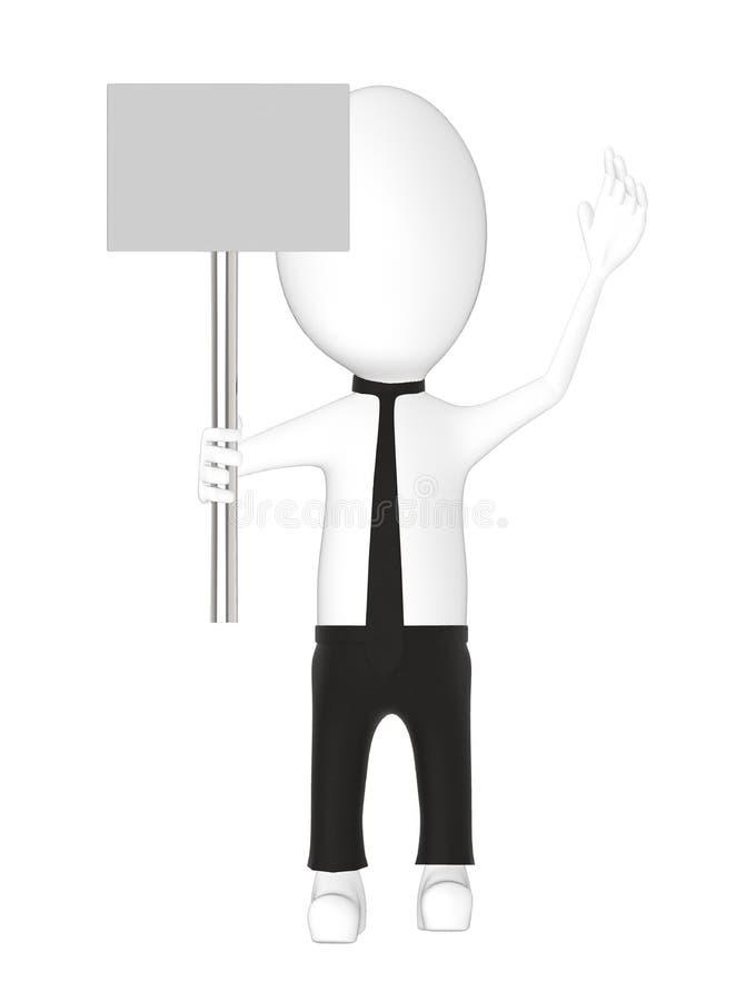 3d charakter, mężczyzna trzyma sztandar royalty ilustracja