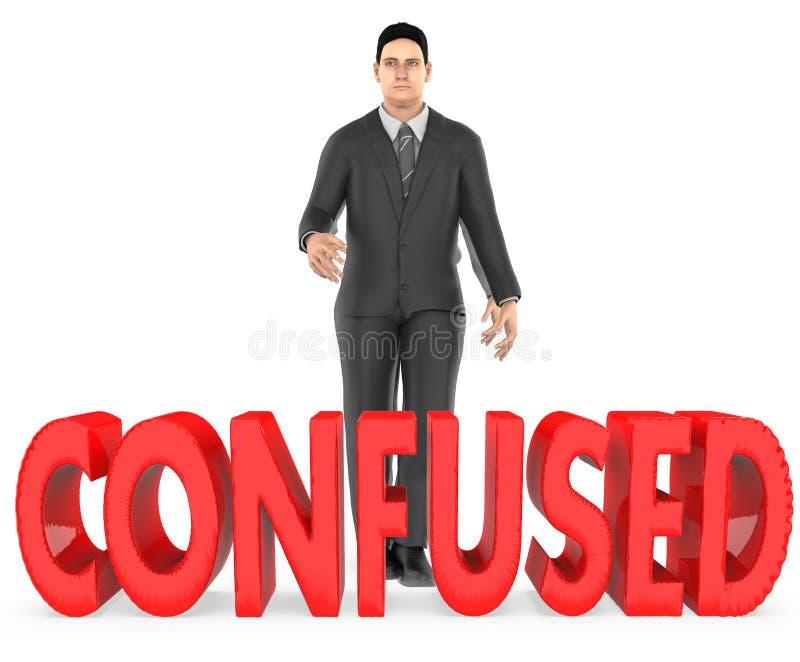 3d charakter, mężczyzna, wątpliwość, confussed - zmieszanego tekst ilustracja wektor