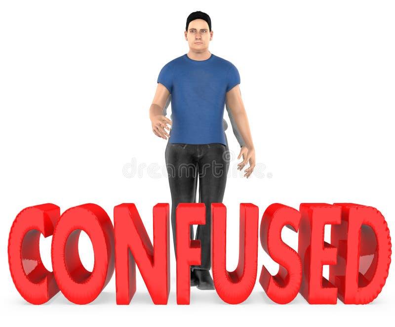 3d charakter, mężczyzna, wątpliwość, confussed - zmieszanego tekst ilustracji