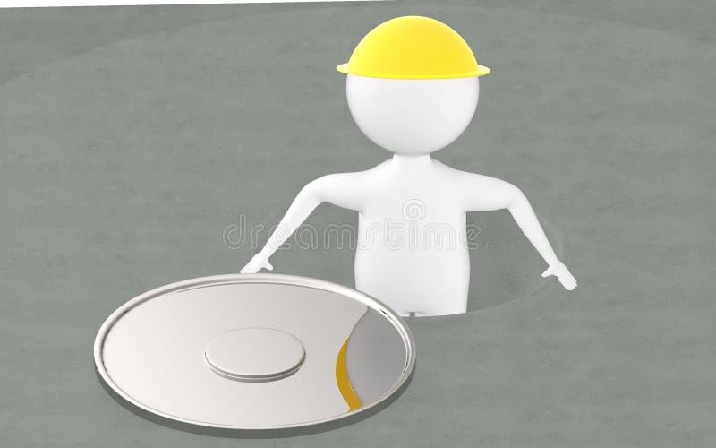 3d charakter, mężczyzna w rozpieczętowanym manhole ilustracja wektor