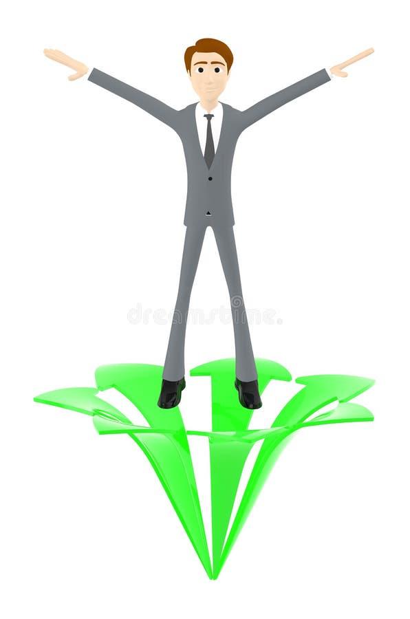 3d Charakter, Mann, der beide Hände auf Richtung zwei über einen steigenden Pfeil wellenartig bewegt lizenzfreie abbildung