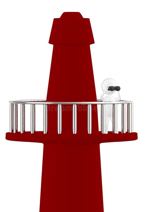 3d Charakter, Mann, der durch binokulares bei der Stellung auf einen Turm schaut lizenzfreie abbildung