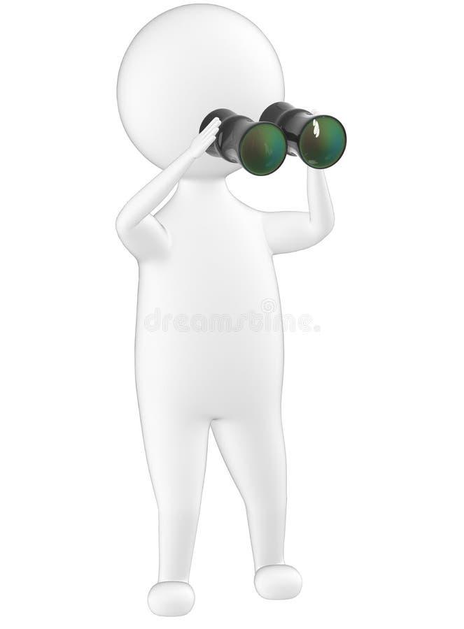 3d Charakter, Mann, der durch binokulares schaut stock abbildung
