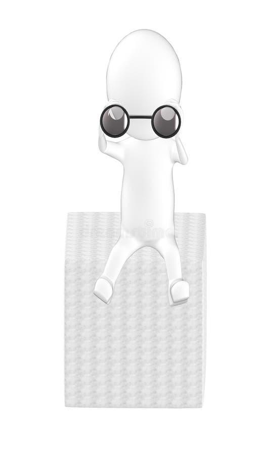 3d Charakter, Mann, der durch binokulares sitzt und schaut vektor abbildung