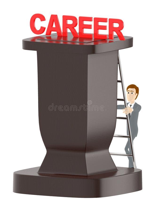 3d Charakter, Mann, der oben eine Leiter in Richtung zum Karrieretext klettert stock abbildung