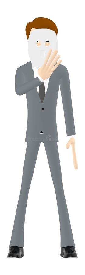 3d Charakter, Mann, der sein Gesicht unter Verwendung einer Maske versteckt stock abbildung
