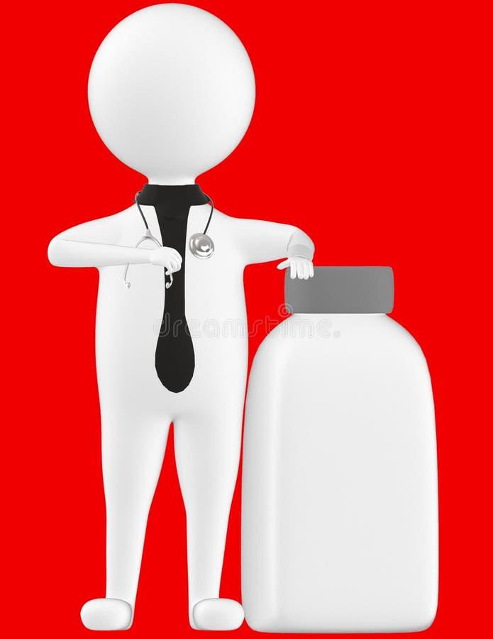 3d charakter, obsługuje medycznego practioner, doctoer z pustą zamkniętą pokrywkową butelką ilustracji