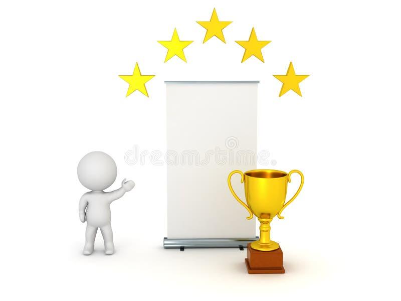 3D charakter Pokazuje Rollup plakat z Złotym trofeum i gwiazdami ilustracji