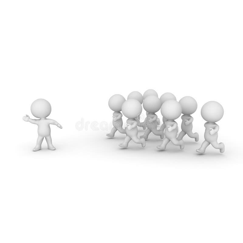 3D charakter prowadzi grupy ludzi ilustracji