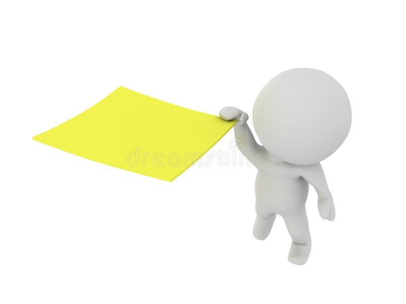 3D charakter przylega na gigantycznej żółtej poczta mnie kleista notatka ilustracja wektor