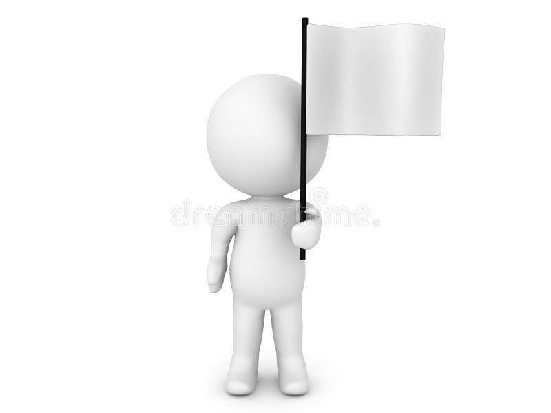 3D charakter trzyma białą flagę royalty ilustracja