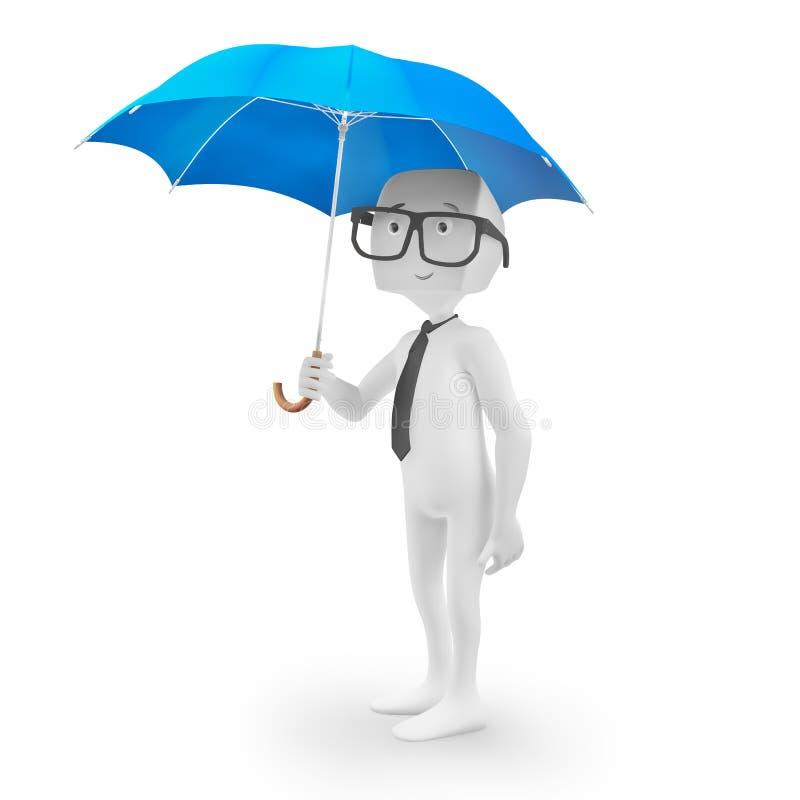 3D charakter trzyma parasol ilustracja wektor