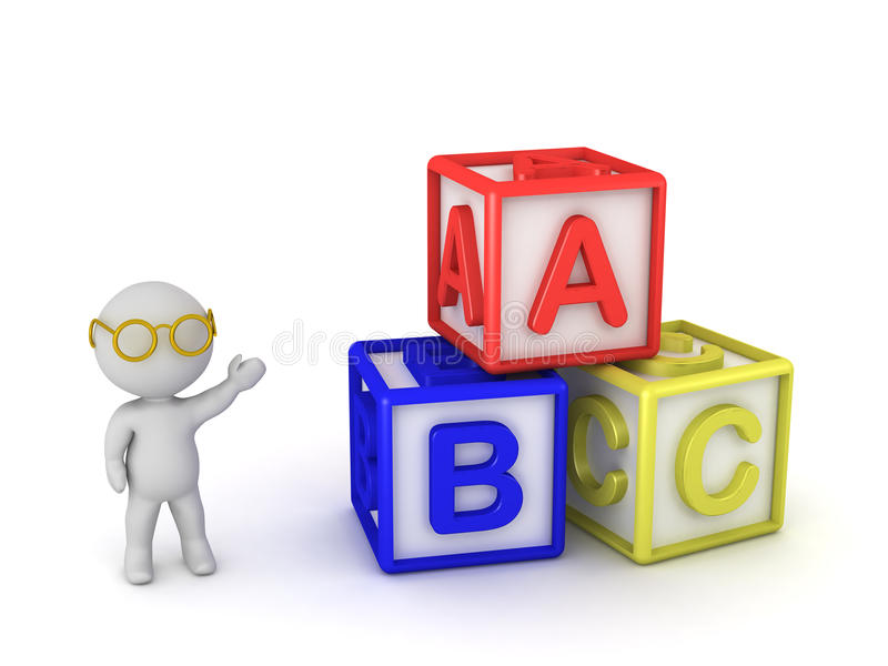 3D charakter z b C sześcianami ilustracji