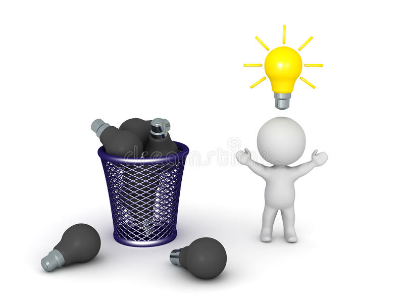 3D charakter z Dobrym pomysłem i Wiele Złymi pomysłami w gracie ilustracja wektor
