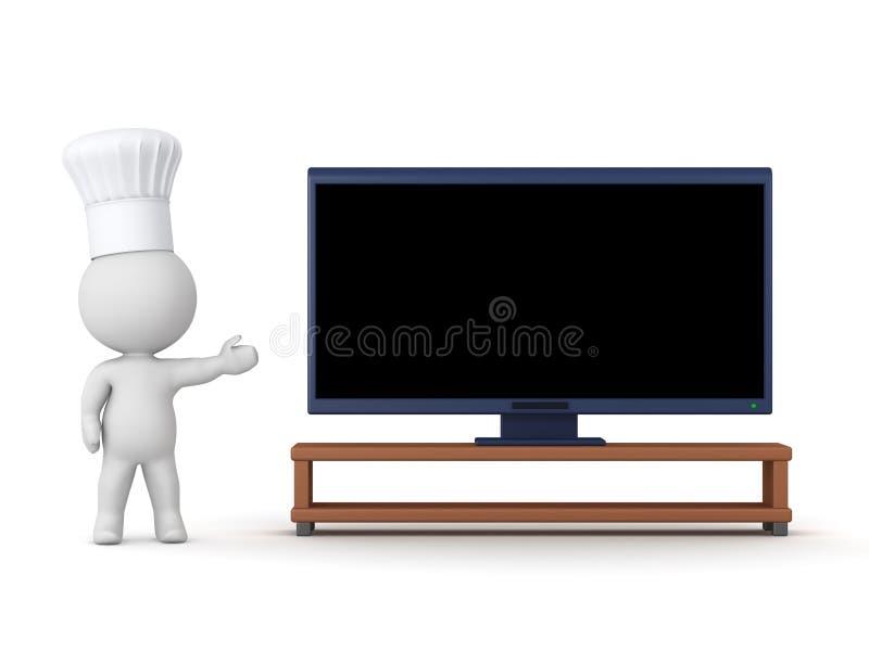 3D charakter z szefem kuchni Kapeluszowy Pokazuje HDTV - Gotować przedstawienia pojęcie ilustracji