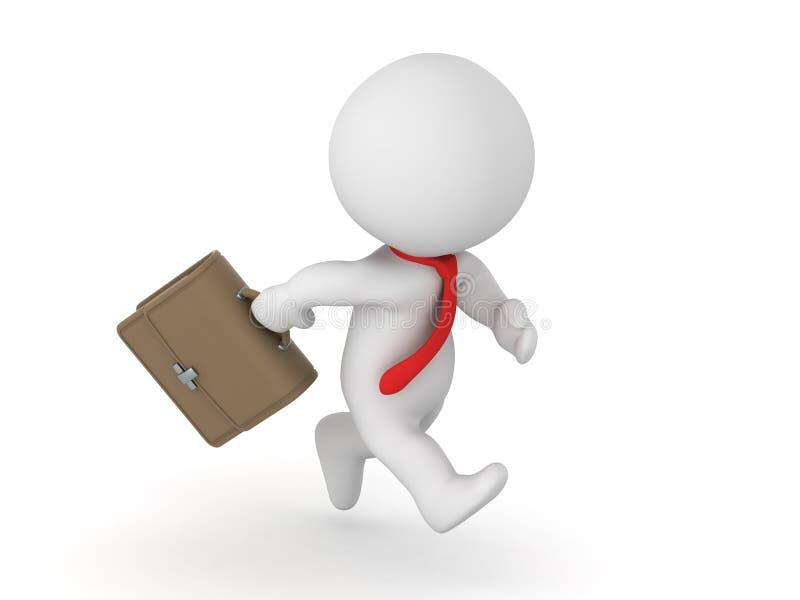 3D charakteru biznesmen z Czerwonym krawatem i teczką Biega ilustracji