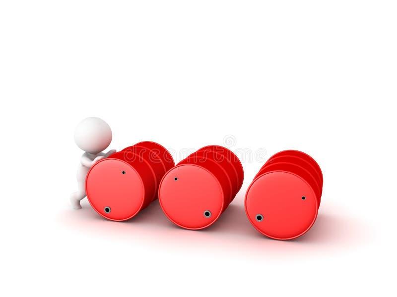 3D charakteru dosunięcia wieloskładnikowe czerwone nafciane baryłki ilustracja wektor