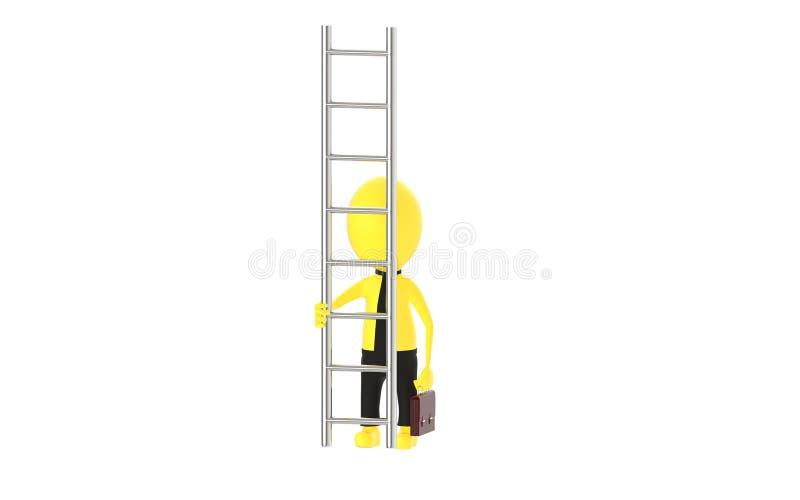 3d charakteru mienia żółta teczka i pozycja przed drabiną - sposób wspinać się sukcesu pojęcie ilustracja wektor