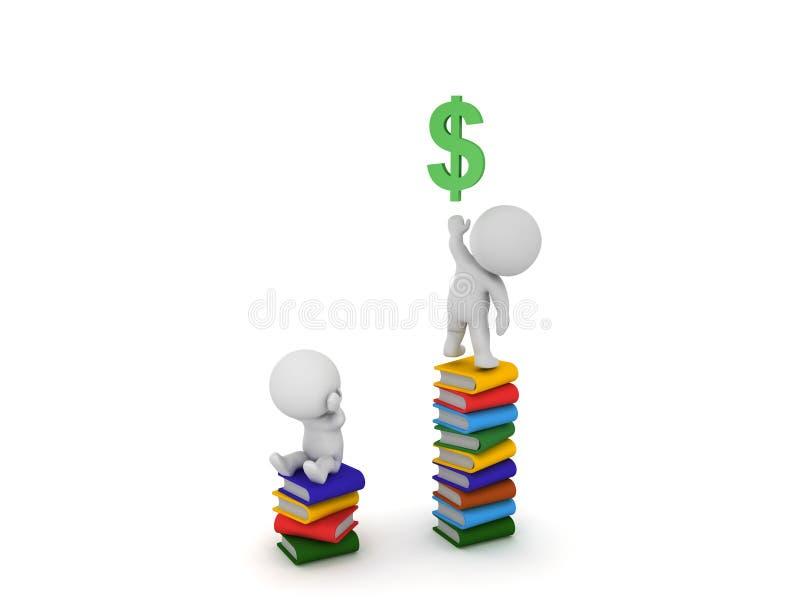 3D charakteru obsiadanie na stercie książki dosięga dla dolarowego symbo ilustracja wektor