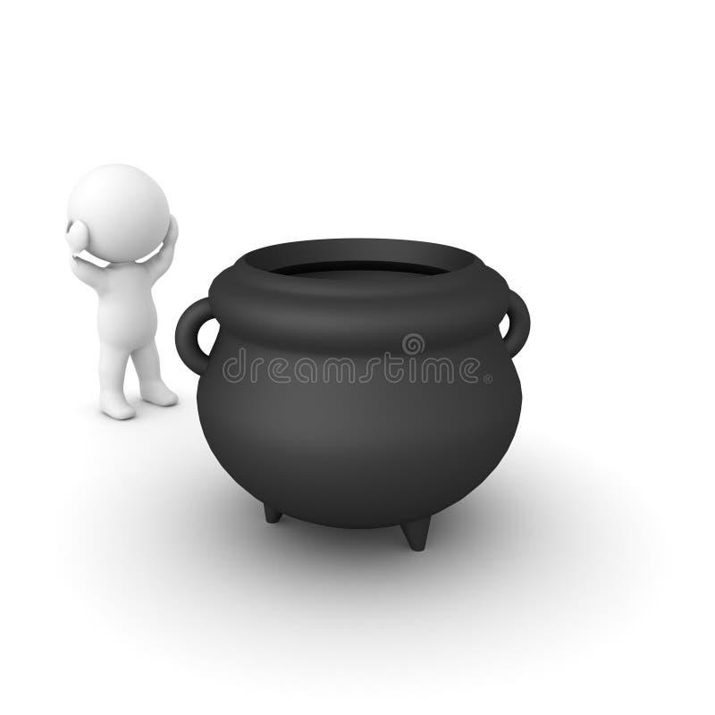 3D charakteru patrzeć straszył przy dużym czarnym kotłem royalty ilustracja