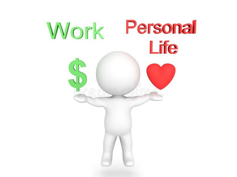 3D charakteru równoważenia praca i osobisty życie z tekstem above royalty ilustracja