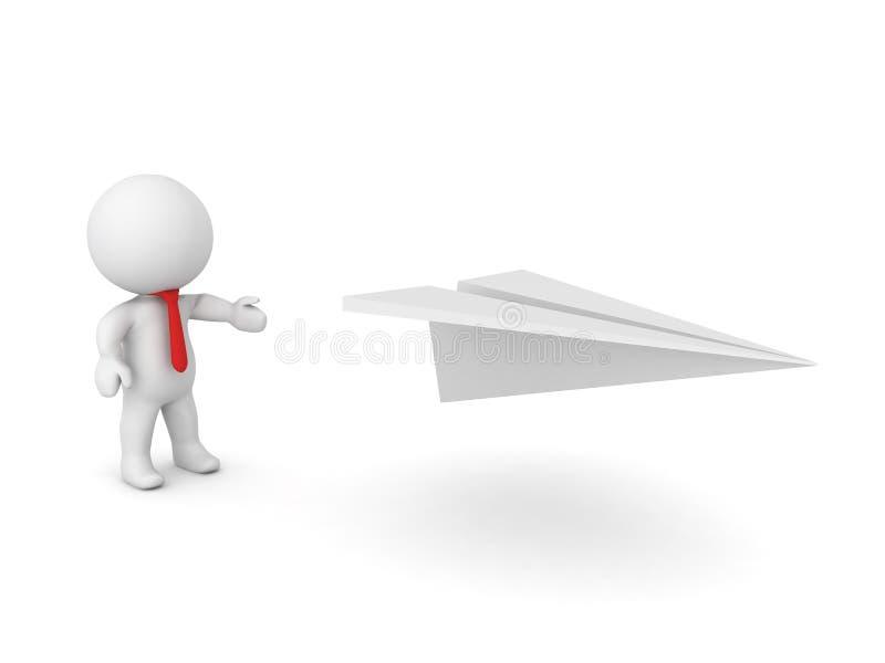 3D charakteru seansu papieru samolot ilustracja wektor