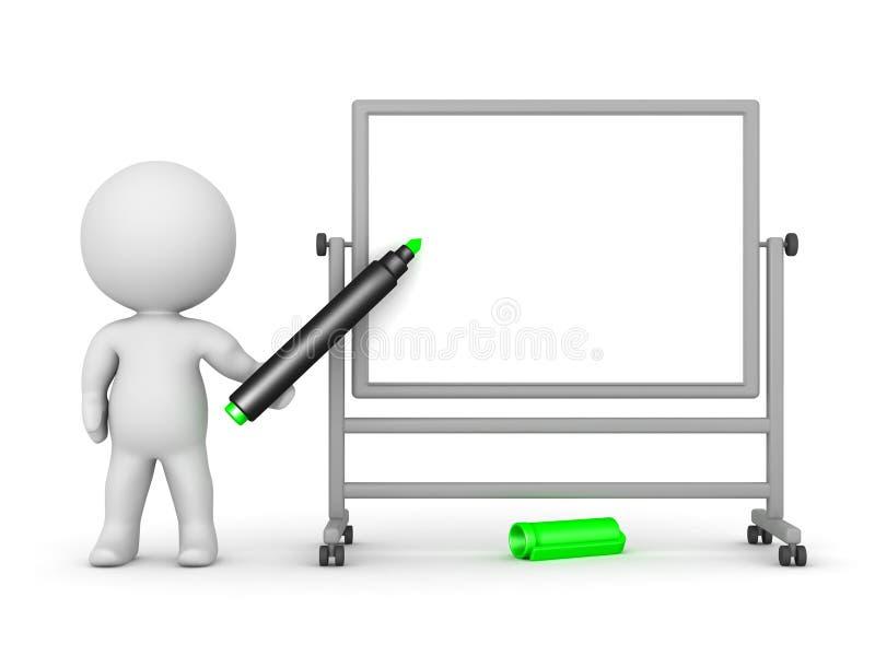 3d charakteru whiteboard writing royalty ilustracja