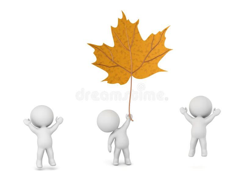 3D charaktery i Wielki jesień liść ilustracja wektor