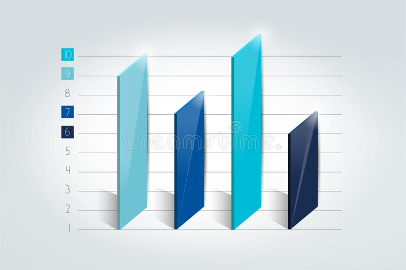3D chart, graph, bar. Infographic element. royalty free illustration