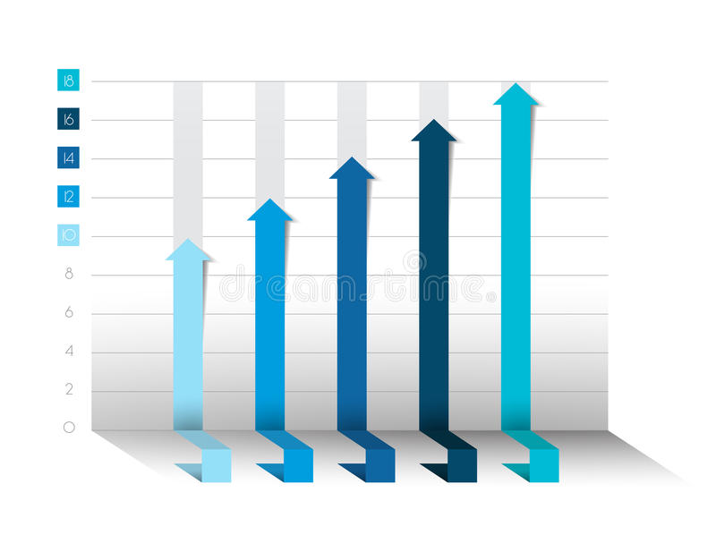 3D chart, graph. Blue color. Infographics business elements. royalty free illustration