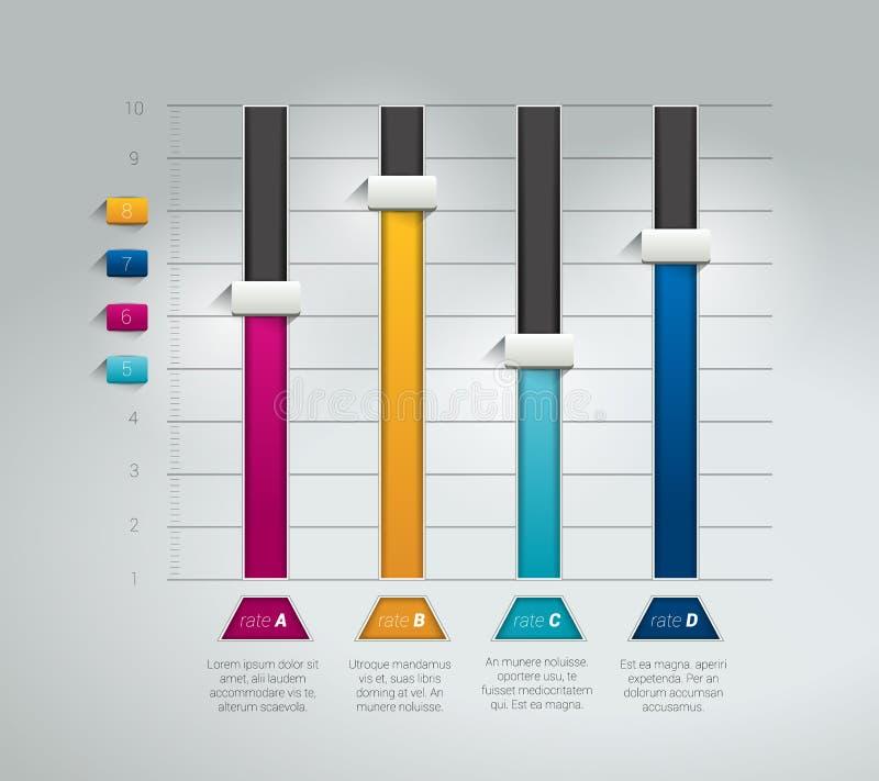 3D chart, graph. Infographics flat brochure element. Vector stock illustration