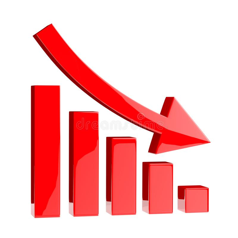 3D Chart icon arrow point down, red bar. stock illustration