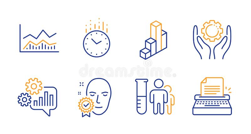 3d chart, Trade infochart and Medical analyzes icons set. Time, Face verified and Employee hand signs. Vector. 3d chart, Trade infochart and Medical analyzes royalty free illustration