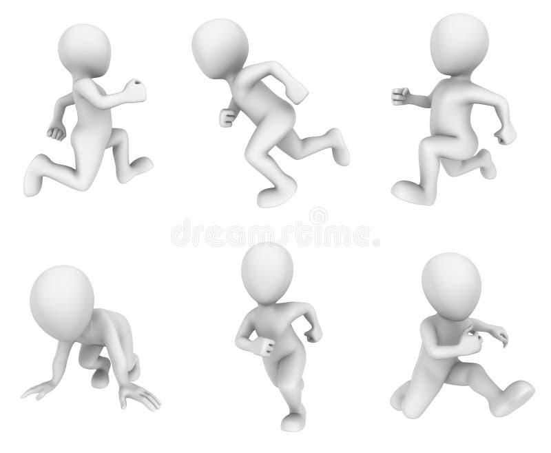 3d che esegue la gente bianca su fondo bianco illustrazione vettoriale