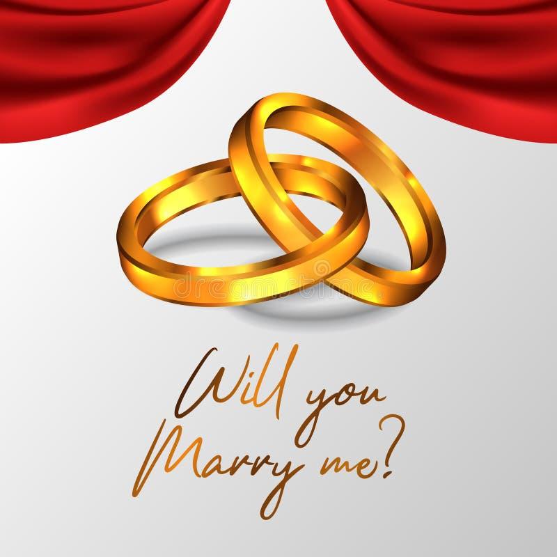 3D che il doppio anello dorato brillante per propone mi sposerete con l'impegno illustrazione vettoriale
