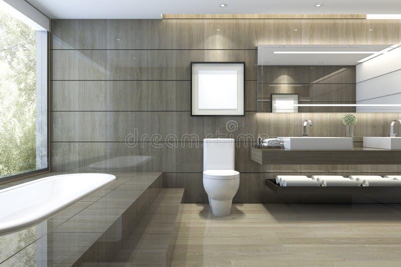 3d che rende bagno classico moderno con la decorazione di lusso delle mattonelle con la vista piacevole della natura dalla finest illustrazione di stock