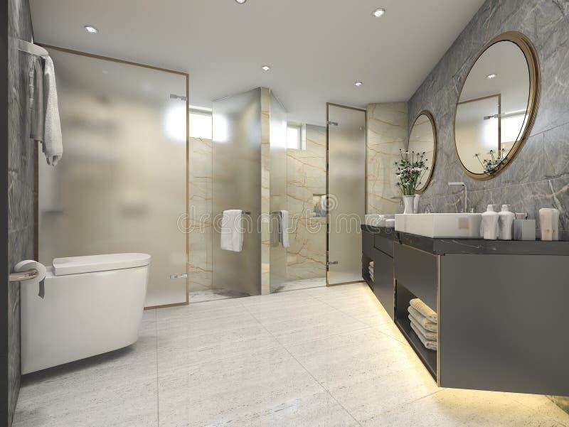 3d che rende bagno nero moderno con la decorazione di lusso delle mattonelle royalty illustrazione gratis