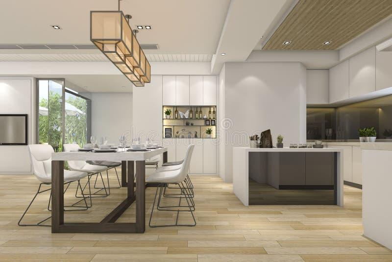 3d Che Rende Belle Cucina E Sala Da Pranzo Bianche Moderne ...