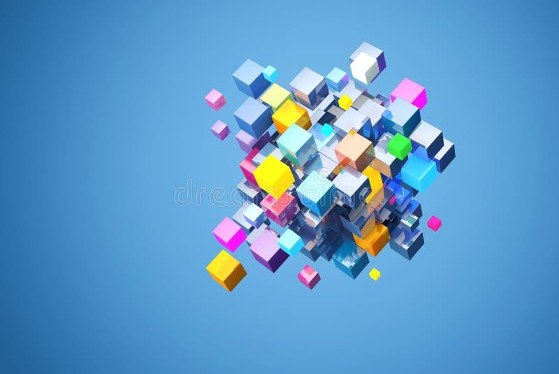 3D che rende blocco astratto di cubi di colore, su fondo blu L'archivio contiene un percorso ai cubi di isolamento immagine stock